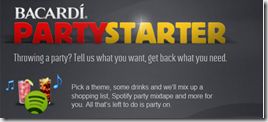 Bacardi party starter widget