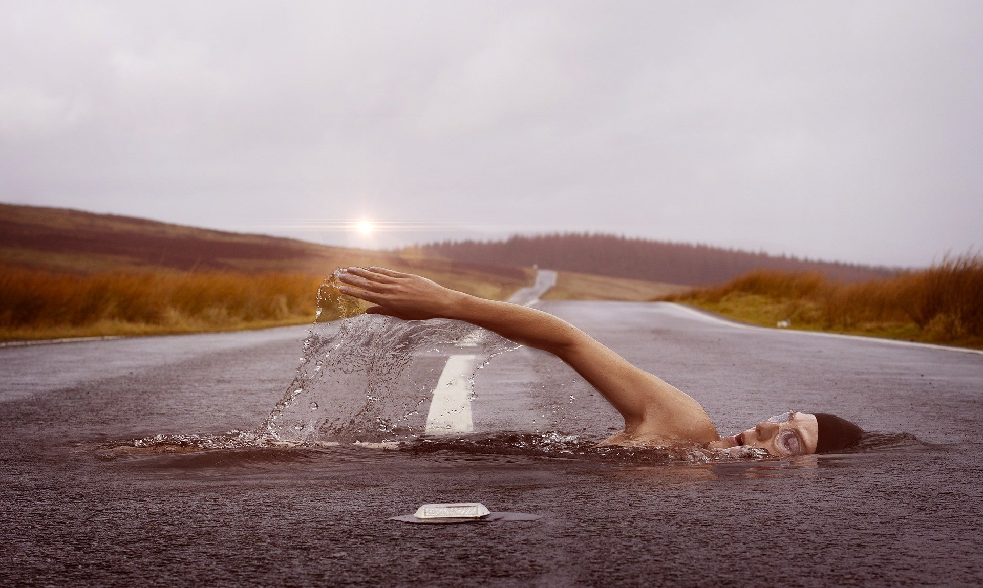 swimmer in highway